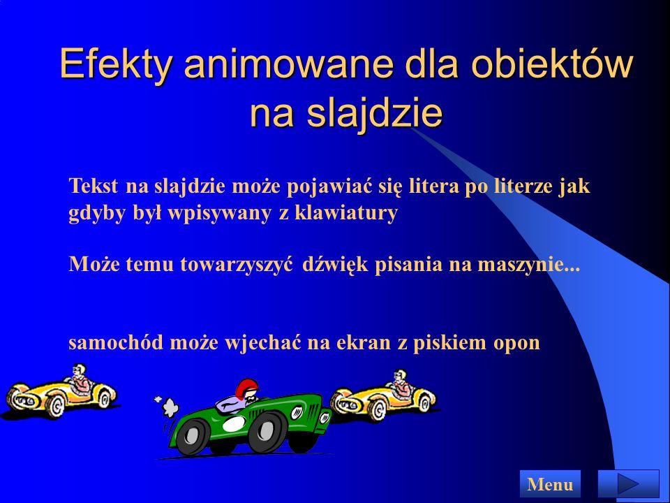 Efekty animowane dla obiektów na slajdzie