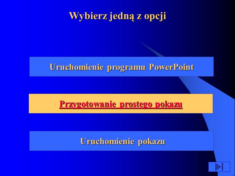Uruchomienie programu PowerPoint Przygotowanie prostego pokazu