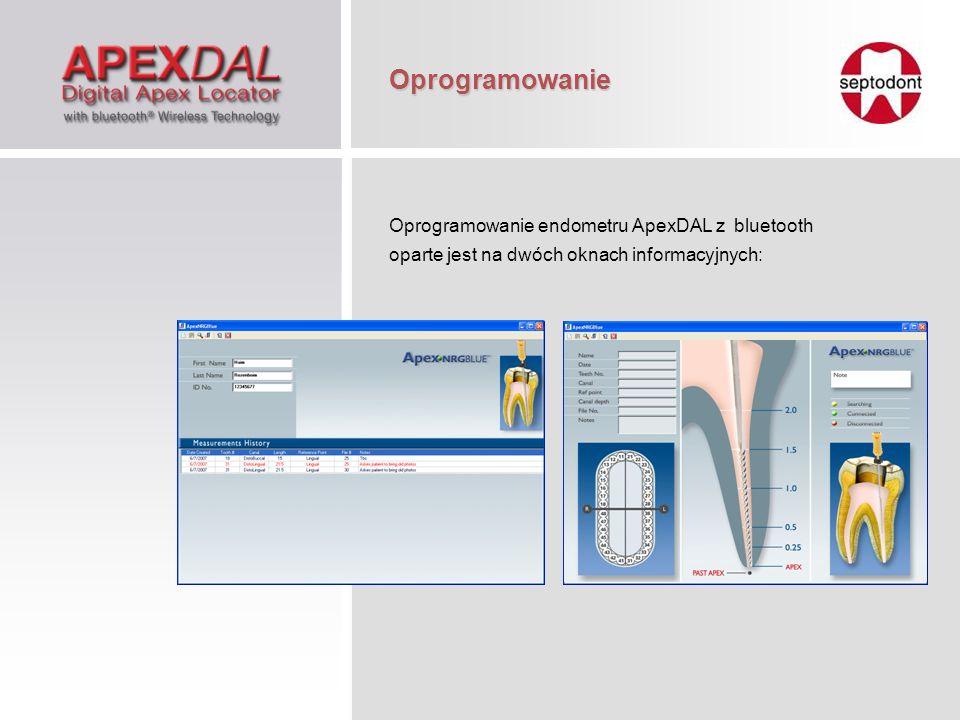 Oprogramowanie Oprogramowanie endometru ApexDAL z bluetooth oparte jest na dwóch oknach informacyjnych: