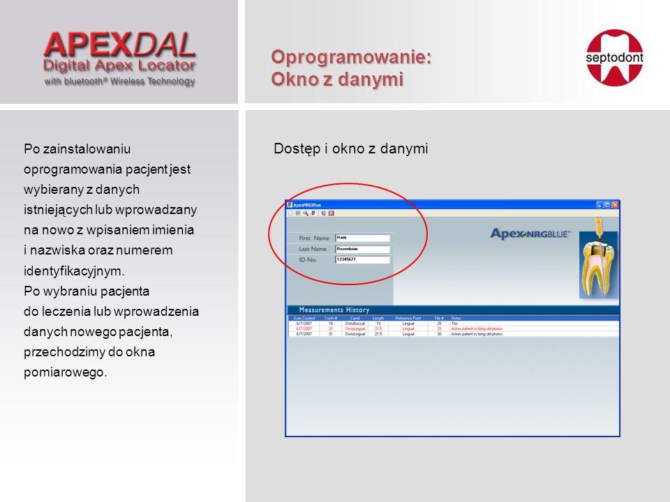 Oprogramowanie: Okno z danymi Dostęp i okno z danymi