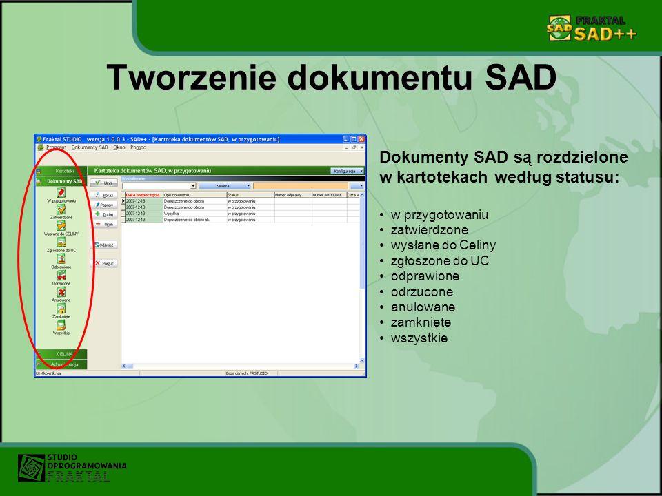 Tworzenie dokumentu SAD