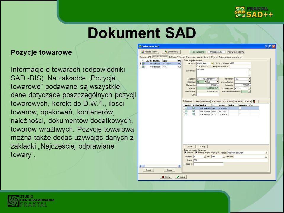 Dokument SAD Pozycje towarowe