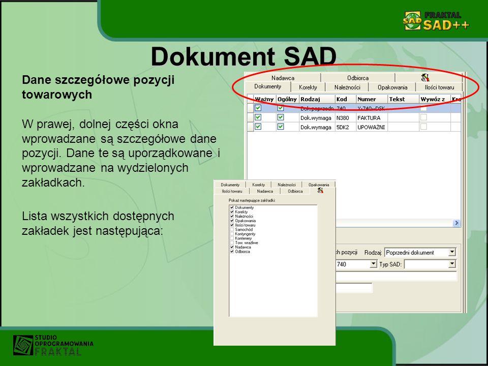 Dokument SAD Dane szczegółowe pozycji towarowych