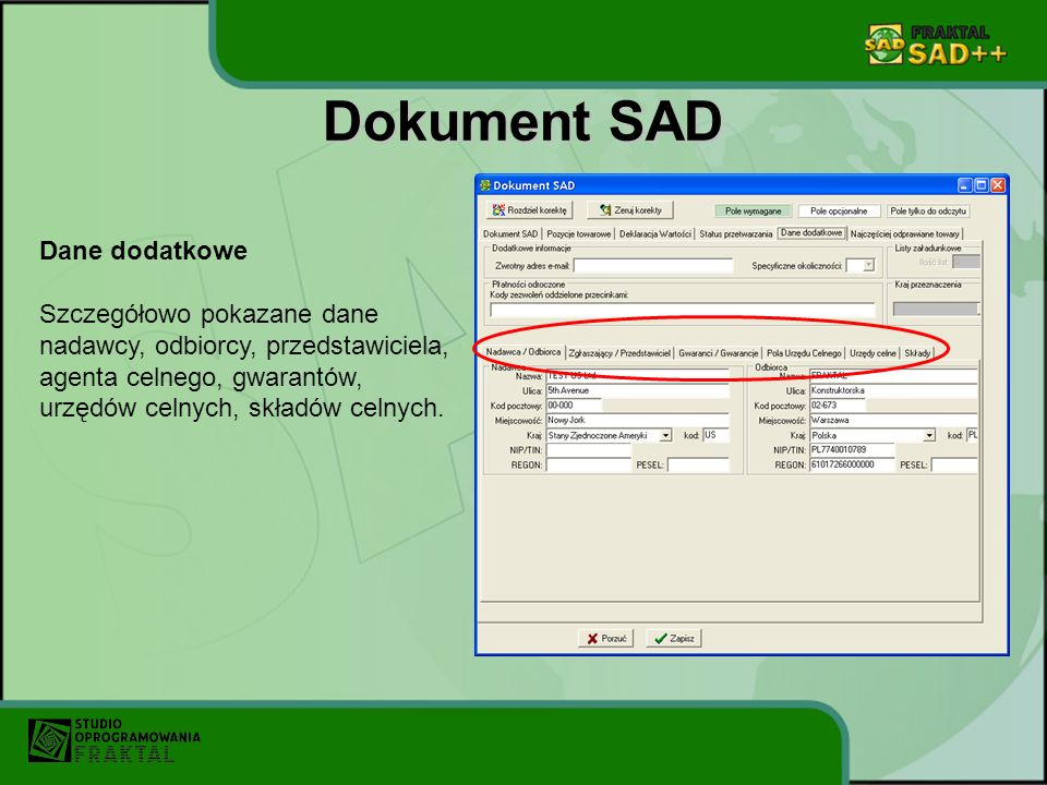 Dokument SAD Dane dodatkowe