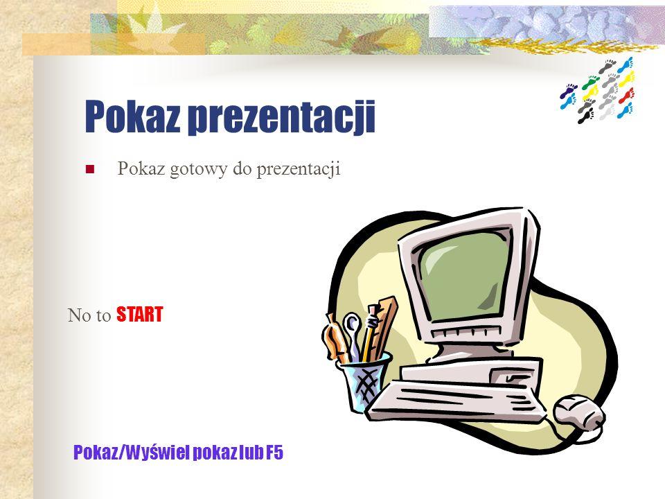 Pokaz prezentacji Pokaz gotowy do prezentacji No to START
