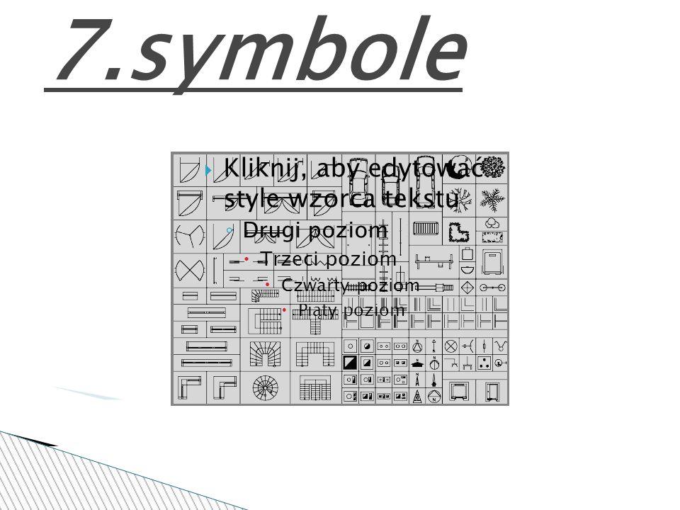 7.symbole Kliknij, aby edytować style wzorca tekstu Drugi poziom