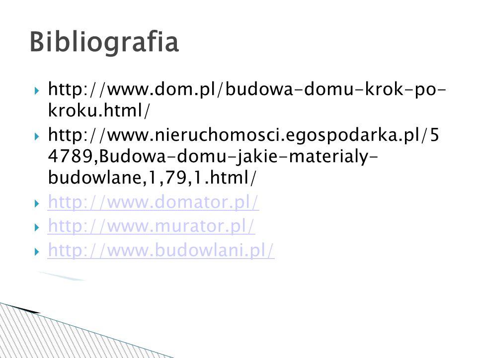 Bibliografia http://www.dom.pl/budowa-domu-krok-po- kroku.html/