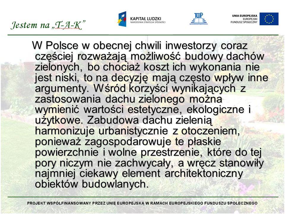 W Polsce w obecnej chwili inwestorzy coraz częściej rozważają możliwość budowy dachów zielonych, bo chociaż koszt ich wykonania nie jest niski, to na decyzję mają często wpływ inne argumenty.