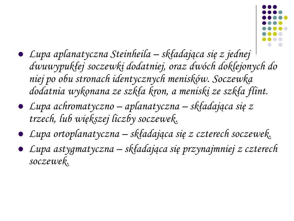 Lupa aplanatyczna Steinheila – składająca się z jednej dwuwypukłej soczewki dodatniej, oraz dwóch doklejonych do niej po obu stronach identycznych menisków. Soczewka dodatnia wykonana ze szkła kron, a meniski ze szkła flint.