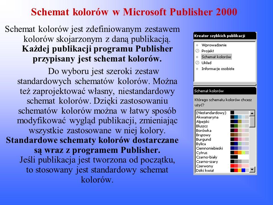 Schemat kolorów w Microsoft Publisher 2000