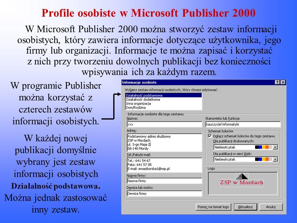 Profile osobiste w Microsoft Publisher 2000
