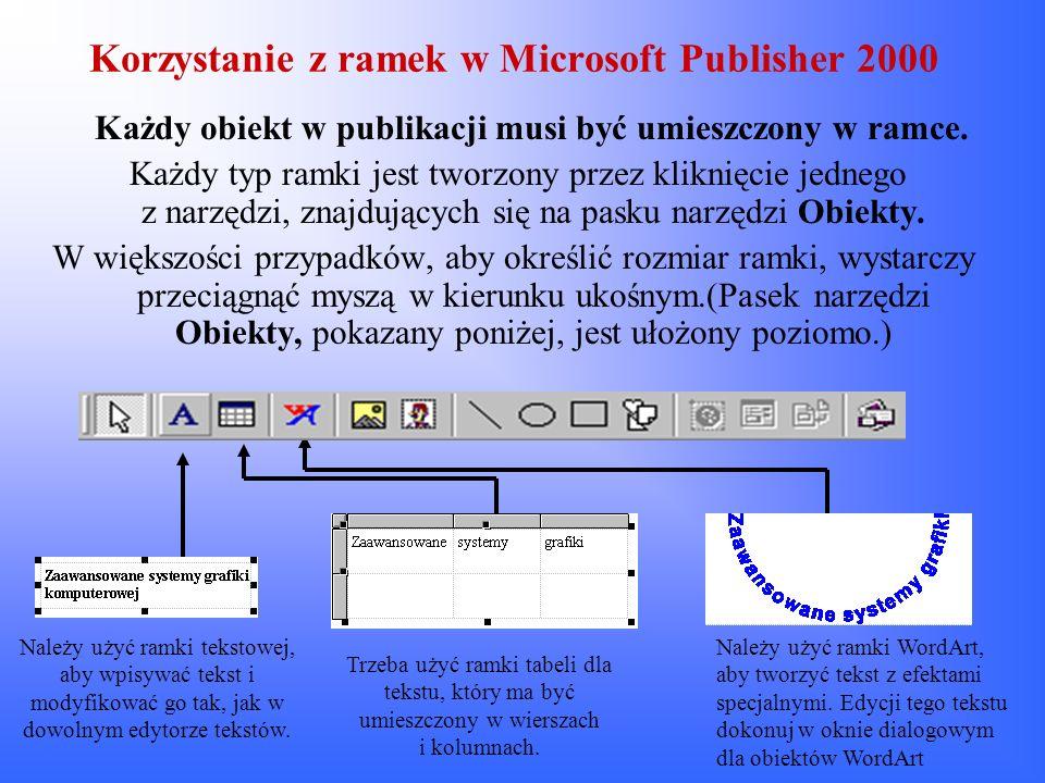 Korzystanie z ramek w Microsoft Publisher 2000