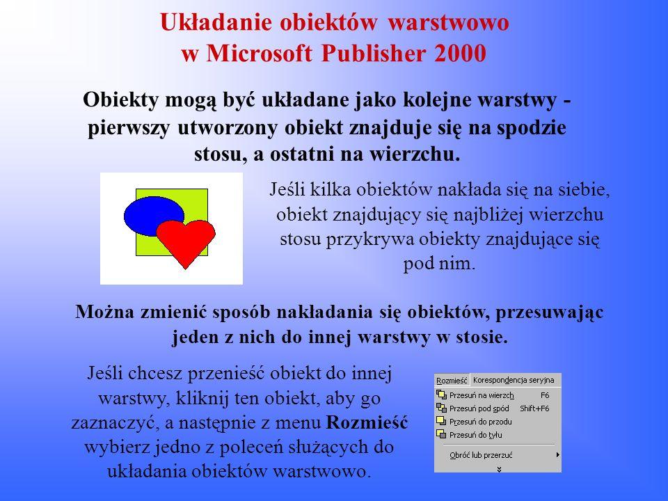 Układanie obiektów warstwowo w Microsoft Publisher 2000