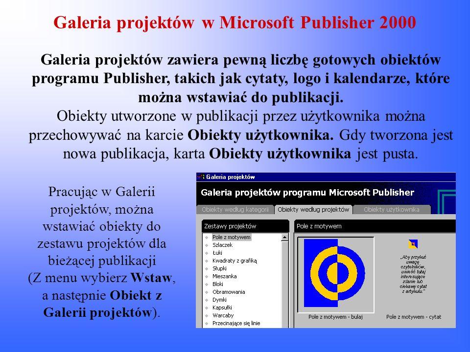 Galeria projektów w Microsoft Publisher 2000