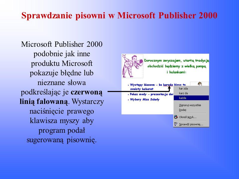 Sprawdzanie pisowni w Microsoft Publisher 2000