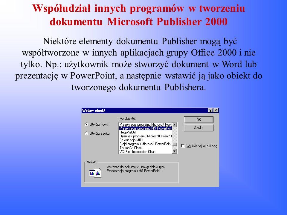 Współudział innych programów w tworzeniu dokumentu Microsoft Publisher 2000