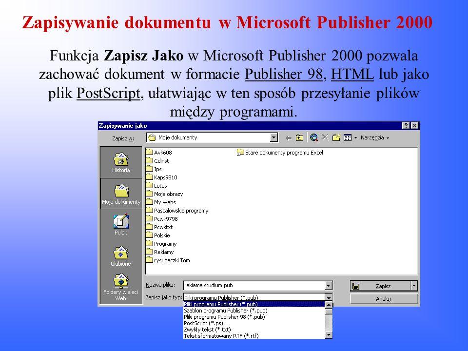 Zapisywanie dokumentu w Microsoft Publisher 2000