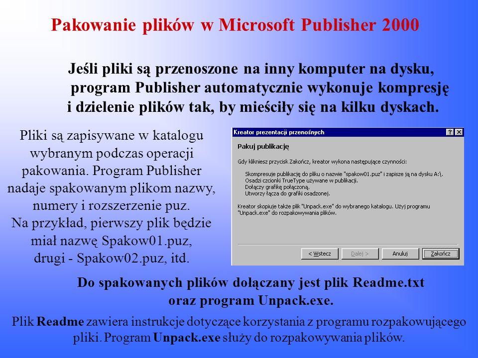 Pakowanie plików w Microsoft Publisher 2000