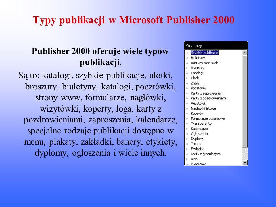 Typy publikacji w Microsoft Publisher 2000