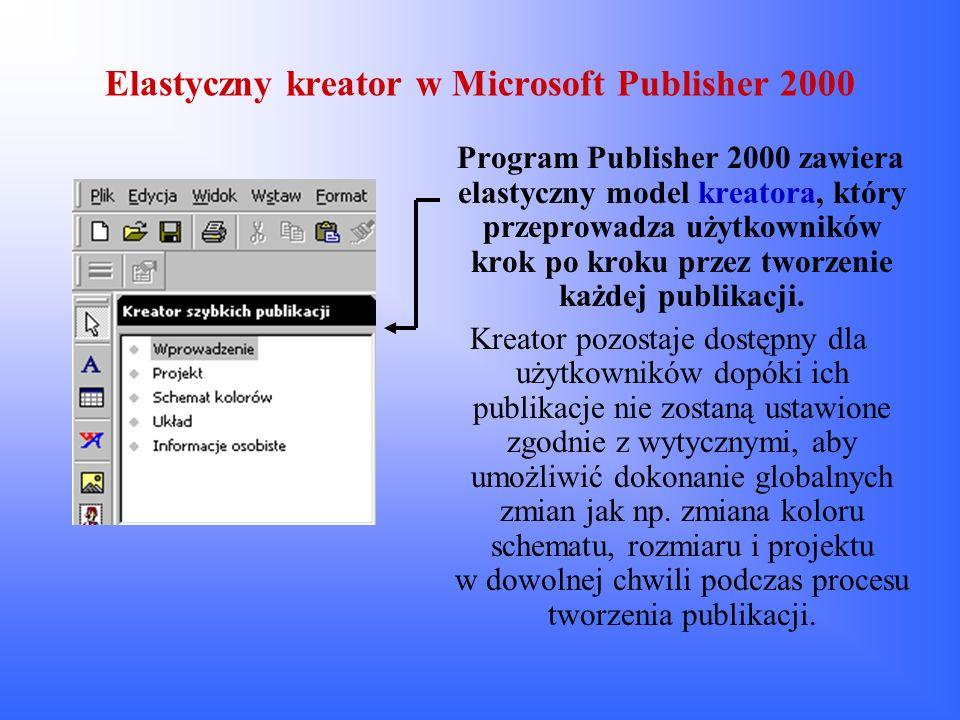 Elastyczny kreator w Microsoft Publisher 2000