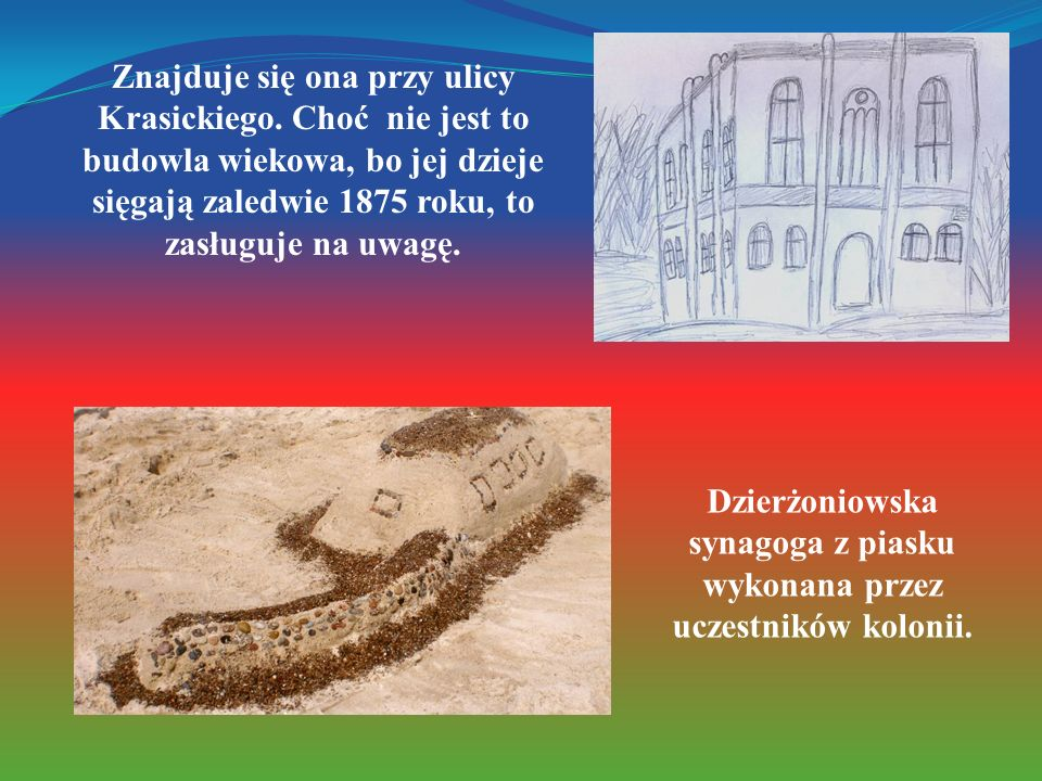 Dzierżoniowska synagoga z piasku wykonana przez uczestników kolonii.