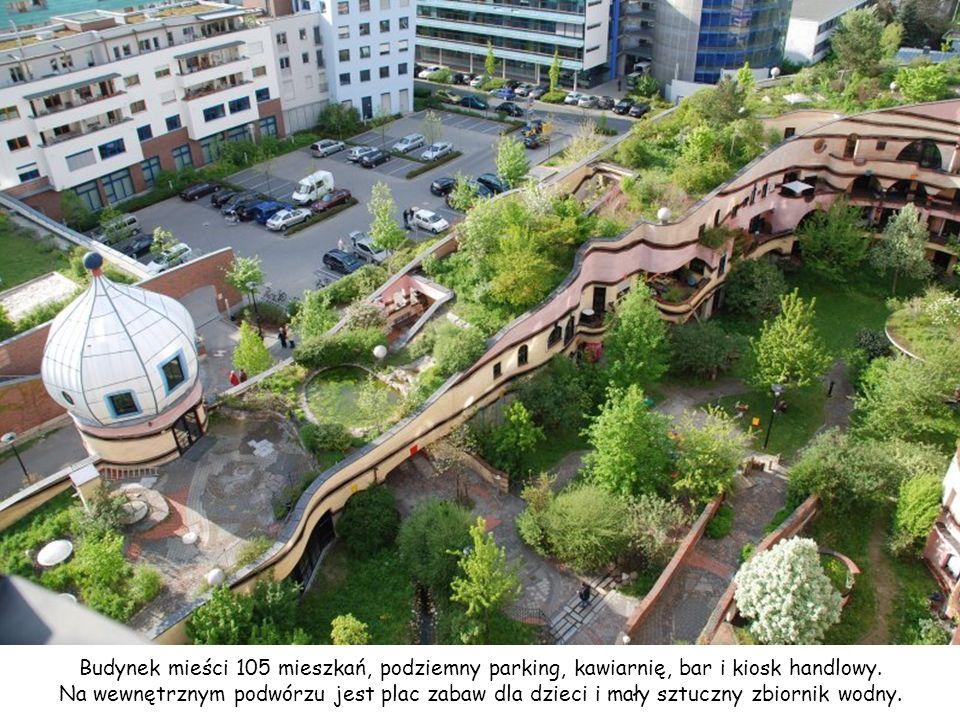 Budynek mieści 105 mieszkań, podziemny parking, kawiarnię, bar i kiosk handlowy.