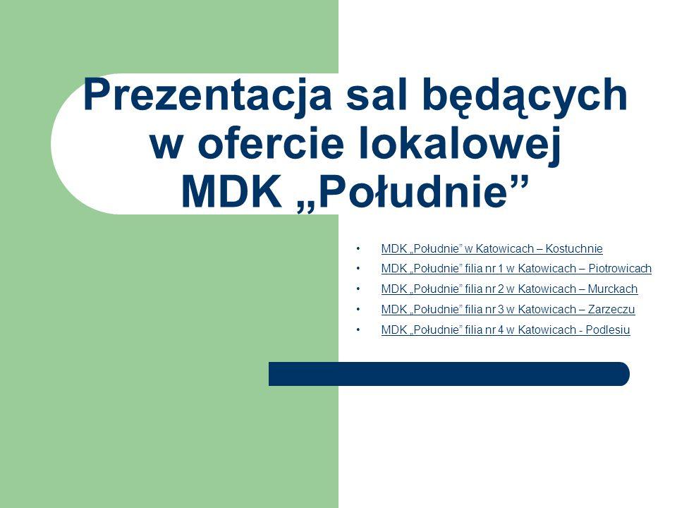 """Prezentacja sal będących w ofercie lokalowej MDK """"Południe"""