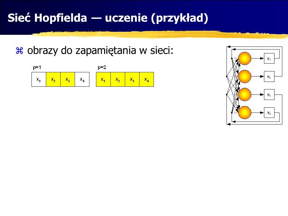 Sieć Hopfielda — uczenie (przykład)
