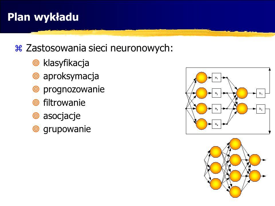 Plan wykładu Zastosowania sieci neuronowych: klasyfikacja aproksymacja