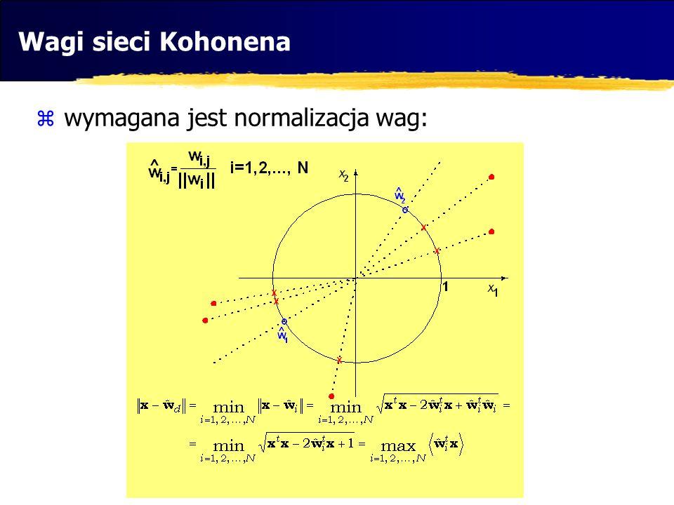 Wagi sieci Kohonena wymagana jest normalizacja wag: