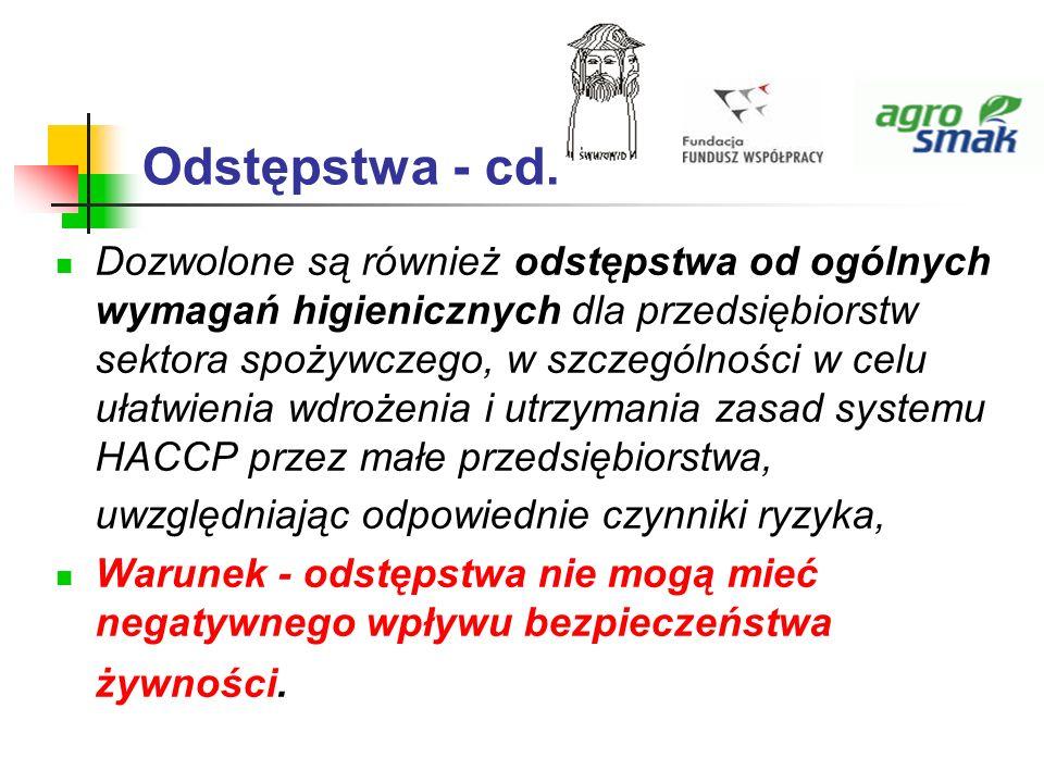 Odstępstwa - cd.