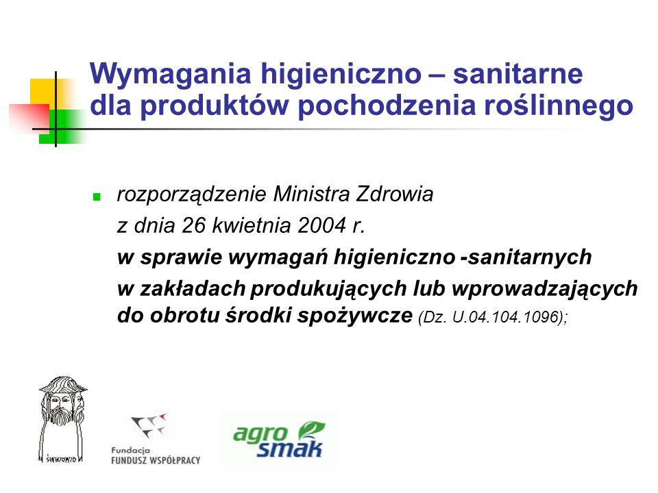 Wymagania higieniczno – sanitarne dla produktów pochodzenia roślinnego