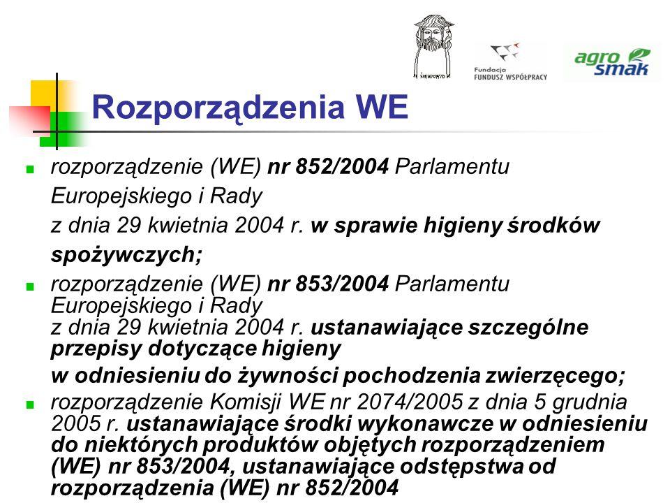 Rozporządzenia WE rozporządzenie (WE) nr 852/2004 Parlamentu Europejskiego i Rady z dnia 29 kwietnia 2004 r. w sprawie higieny środków spożywczych;