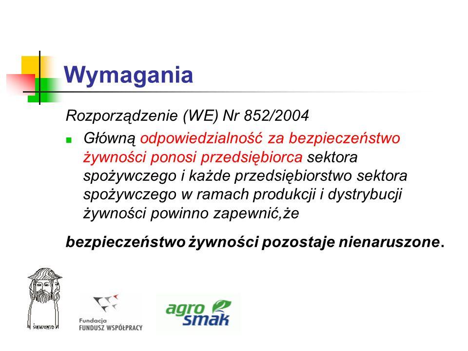 Wymagania Rozporządzenie (WE) Nr 852/2004