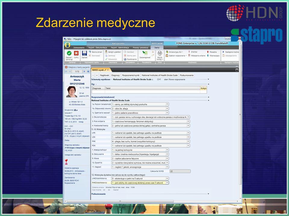 Zdarzenie medyczne Przykład ustrukturyzowanego zdarzenia klinicznego – jest to ocena NIHSS