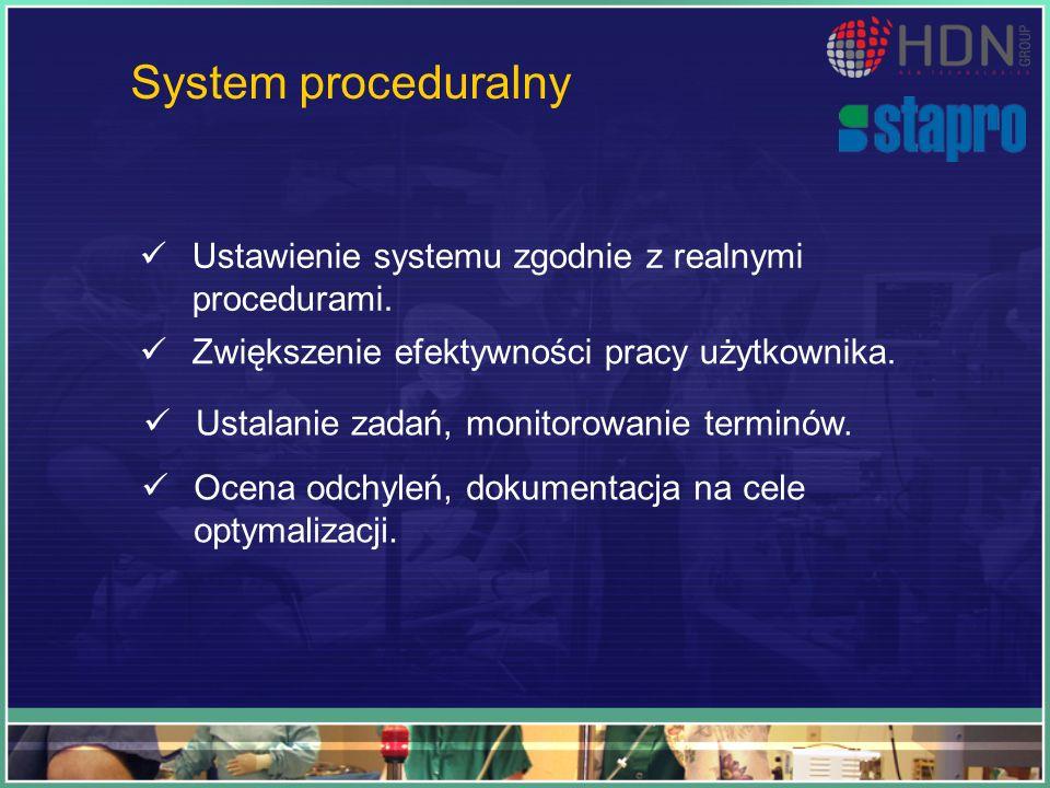 System proceduralny Ustawienie systemu zgodnie z realnymi procedurami.
