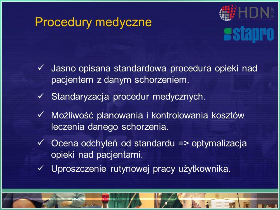 Procedury medyczne Jasno opisana standardowa procedura opieki nad pacjentem z danym schorzeniem. Standaryzacja procedur medycznych.