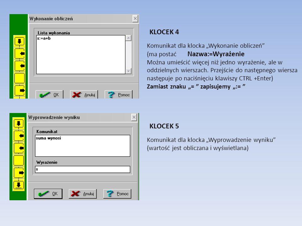 """KLOCEK 4 KLOCEK 5 Komunikat dla klocka """"Wykonanie obliczeń"""