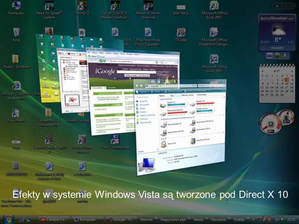 Efekty w systemie Windows Vista są tworzone pod Direct X 10