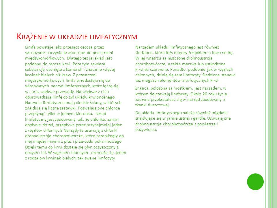 Krążenie w układzie limfatycznym