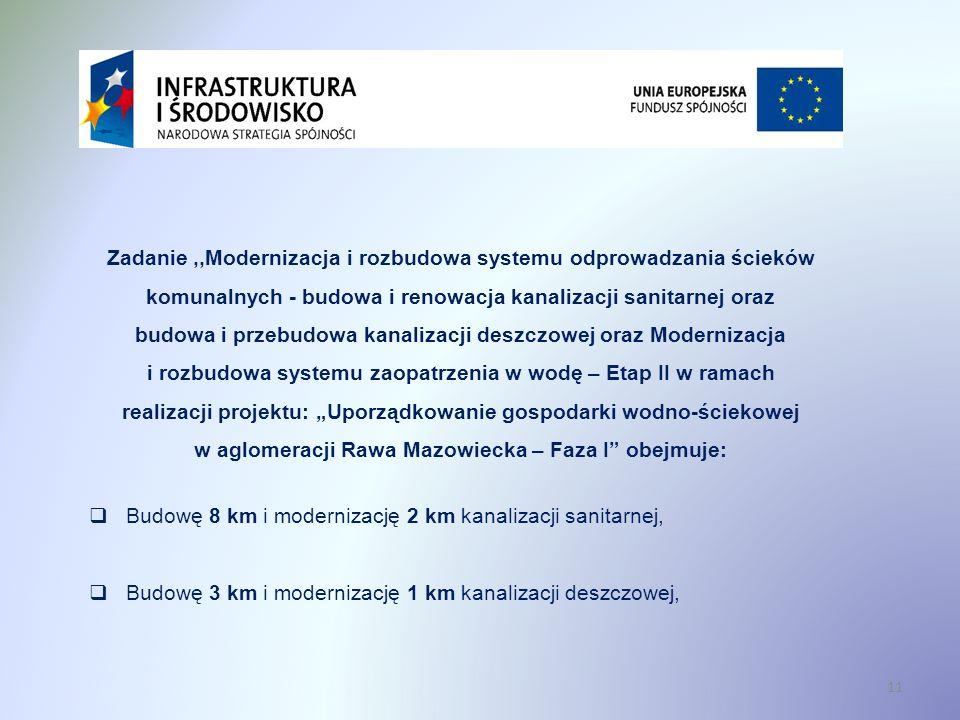 """Zadanie ,,Modernizacja i rozbudowa systemu odprowadzania ścieków komunalnych - budowa i renowacja kanalizacji sanitarnej oraz budowa i przebudowa kanalizacji deszczowej oraz Modernizacja i rozbudowa systemu zaopatrzenia w wodę – Etap II w ramach realizacji projektu: """"Uporządkowanie gospodarki wodno-ściekowej w aglomeracji Rawa Mazowiecka – Faza I obejmuje:"""