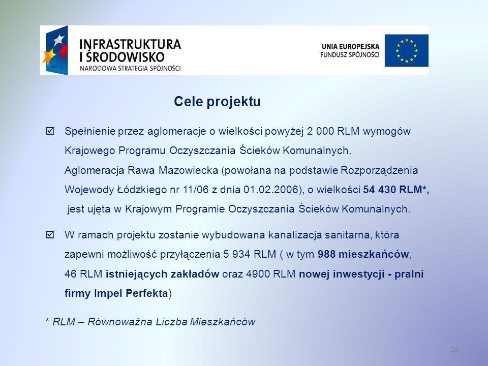 Cele projektu Spełnienie przez aglomeracje o wielkości powyżej 2 000 RLM wymogów Krajowego Programu Oczyszczania Ścieków Komunalnych.
