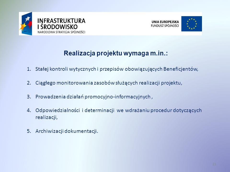 Realizacja projektu wymaga m.in.: