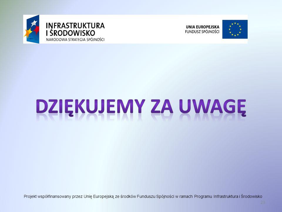 Dziękujemy za uwagę Projekt współfinansowany przez Unię Europejską ze środków Funduszu Spójności w ramach Programu Infrastruktura i Środowisko.