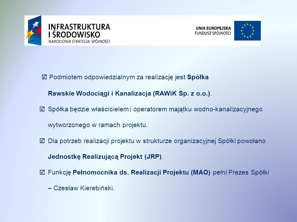  Podmiotem odpowiedzialnym za realizację jest Spółka Rawskie Wodociągi i Kanalizacja (RAWiK Sp. z o.o.).