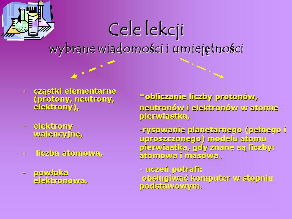 Cele lekcji wybrane wiadomości i umiejętności