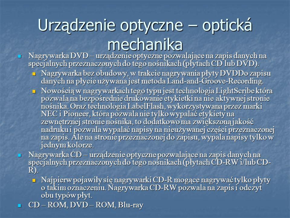 Urządzenie optyczne – optická mechanika