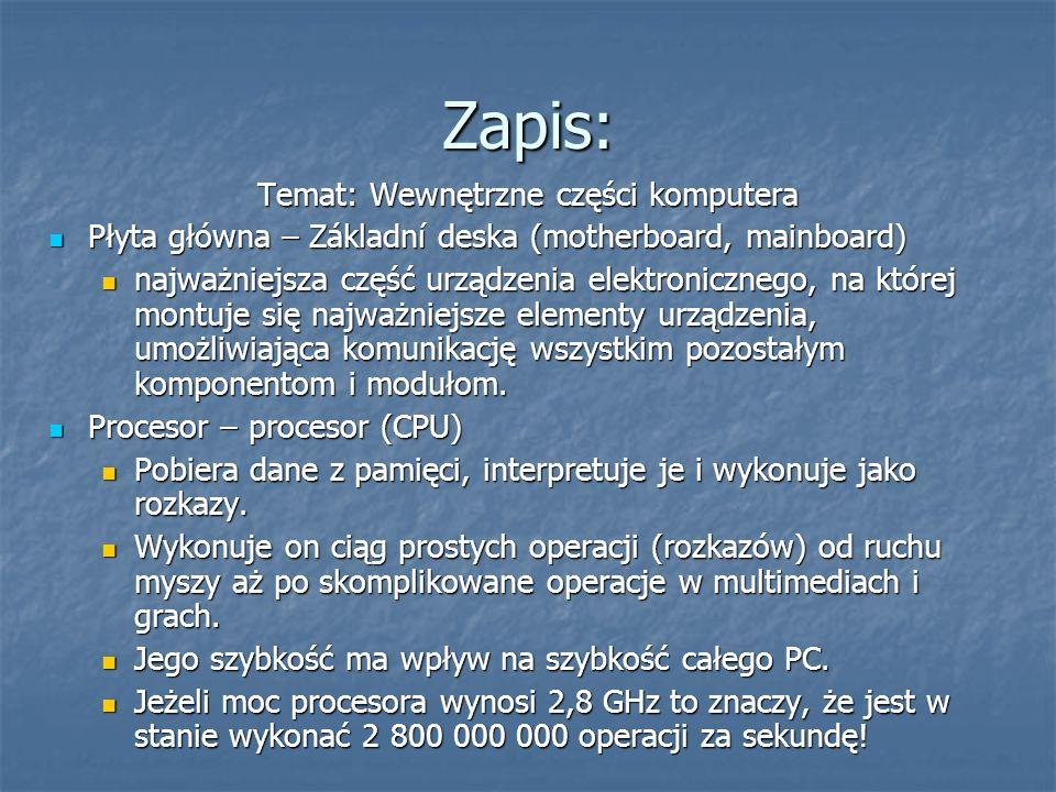 Temat: Wewnętrzne części komputera