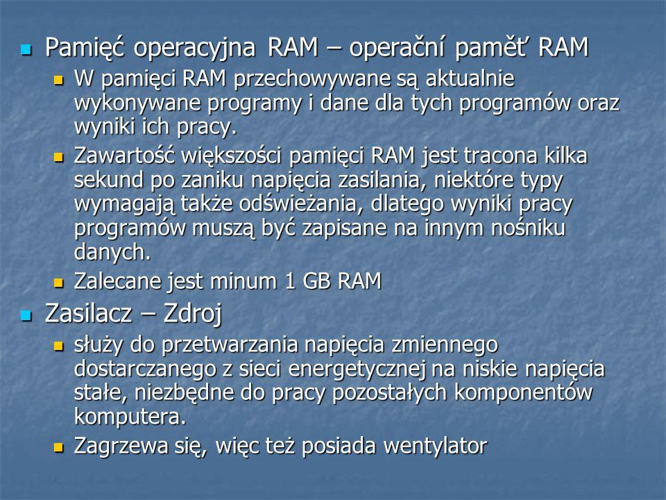 Pamięć operacyjna RAM – operační paměť RAM