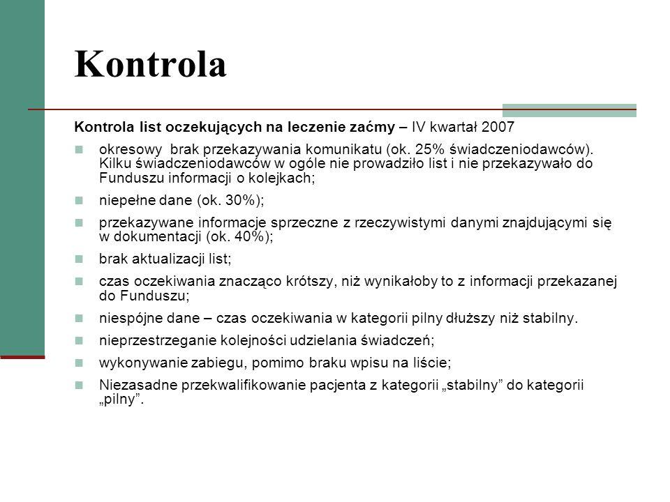 Kontrola Kontrola list oczekujących na leczenie zaćmy – IV kwartał 2007.